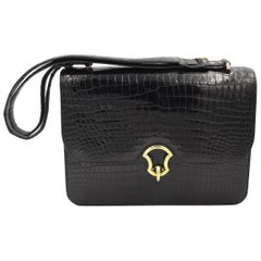Hermes Vintage  Black Croco Vintage Shoulder Bag