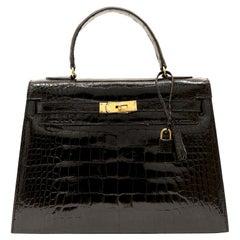 Hermès Vintage Black Crocodile 32 cm Kelly with Gold Hardware