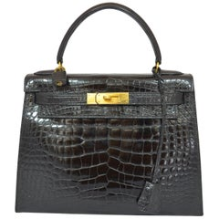 Hermès Vintage Black Crocodile Kelly 28 Bag 1992
