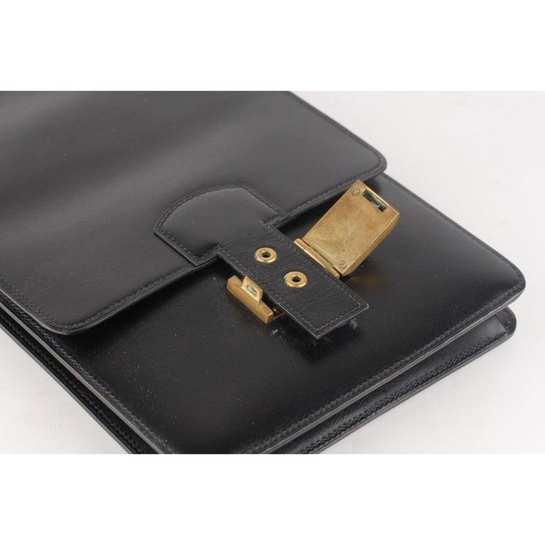Hermes Vintage Black Leather Box Sac a Depeche Shoulder Bag 6