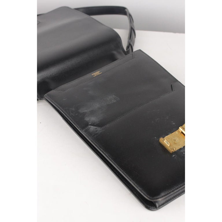 Hermes Vintage Black Leather Box Sac a Depeche Shoulder Bag 7