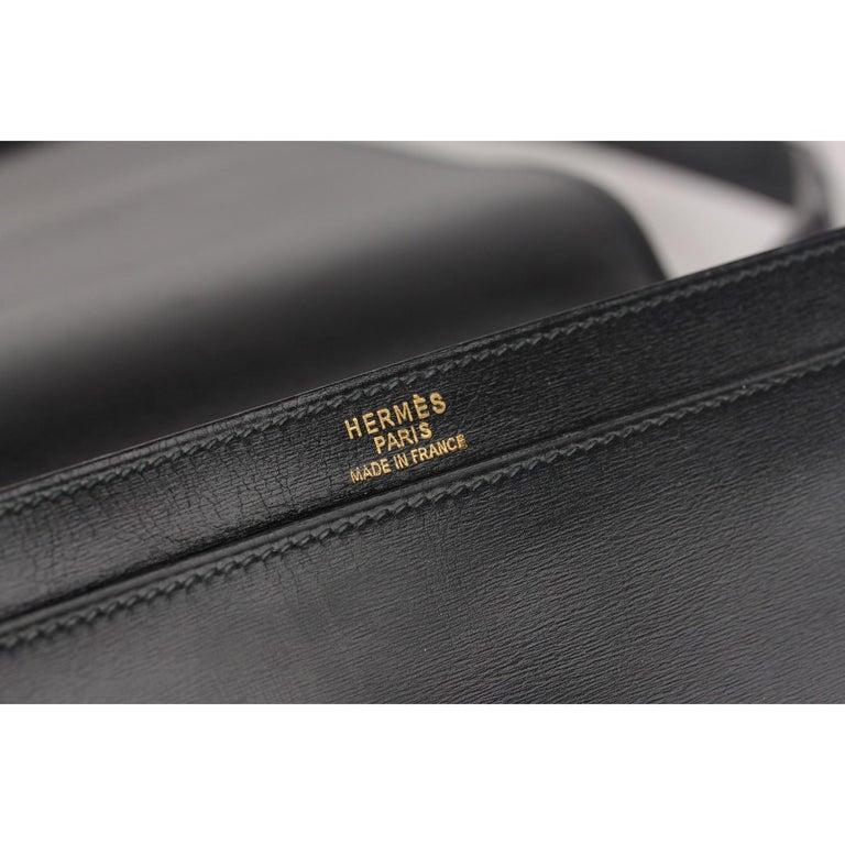 Hermes Vintage Black Leather Box Sac a Depeche Shoulder Bag 8