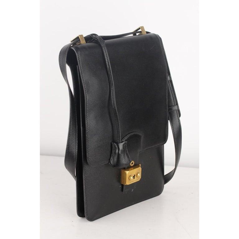 Women's or Men's Hermes Vintage Black Leather Box Sac a Depeche Shoulder Bag