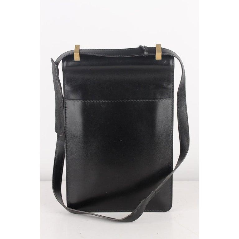 Hermes Vintage Black Leather Box Sac a Depeche Shoulder Bag 1