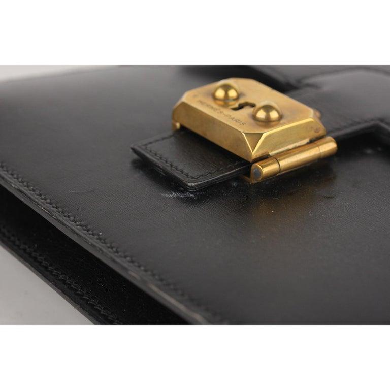 Hermes Vintage Black Leather Box Sac a Depeche Shoulder Bag 2