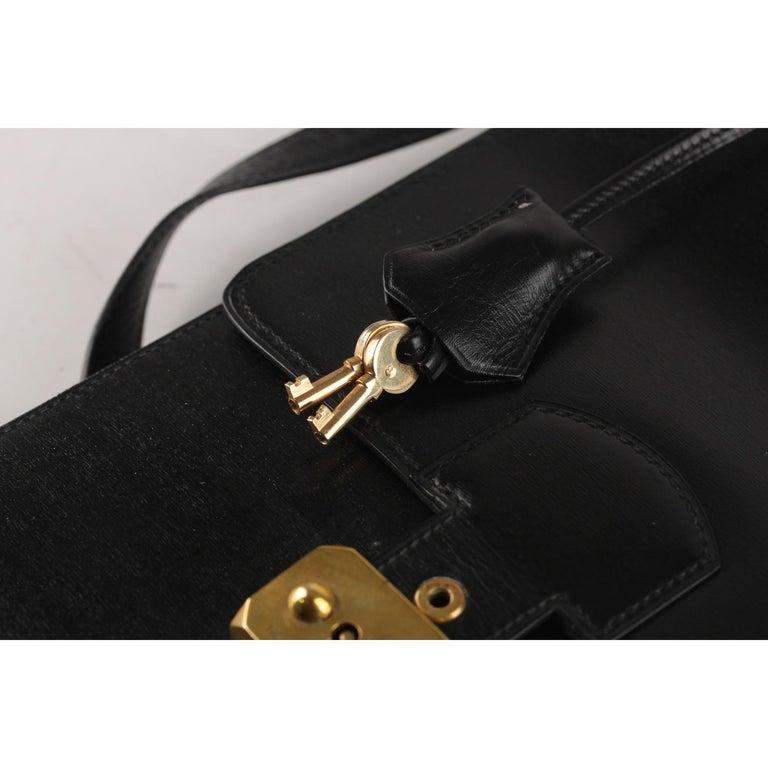 Hermes Vintage Black Leather Box Sac a Depeche Shoulder Bag 4