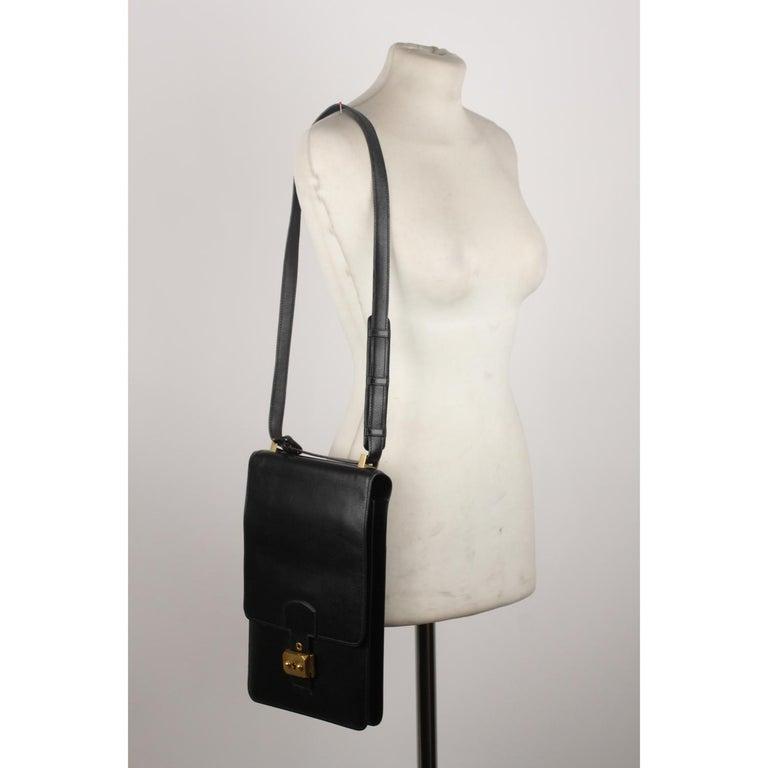 Hermes Vintage Black Leather Box Sac a Depeche Shoulder Bag 5