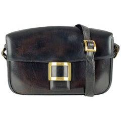 Hermes Vintage Black Leather Sac Martine Shoulder Bag