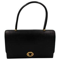 Hermes Vintage  Black Lizard  Vintage Boutonnière Bag