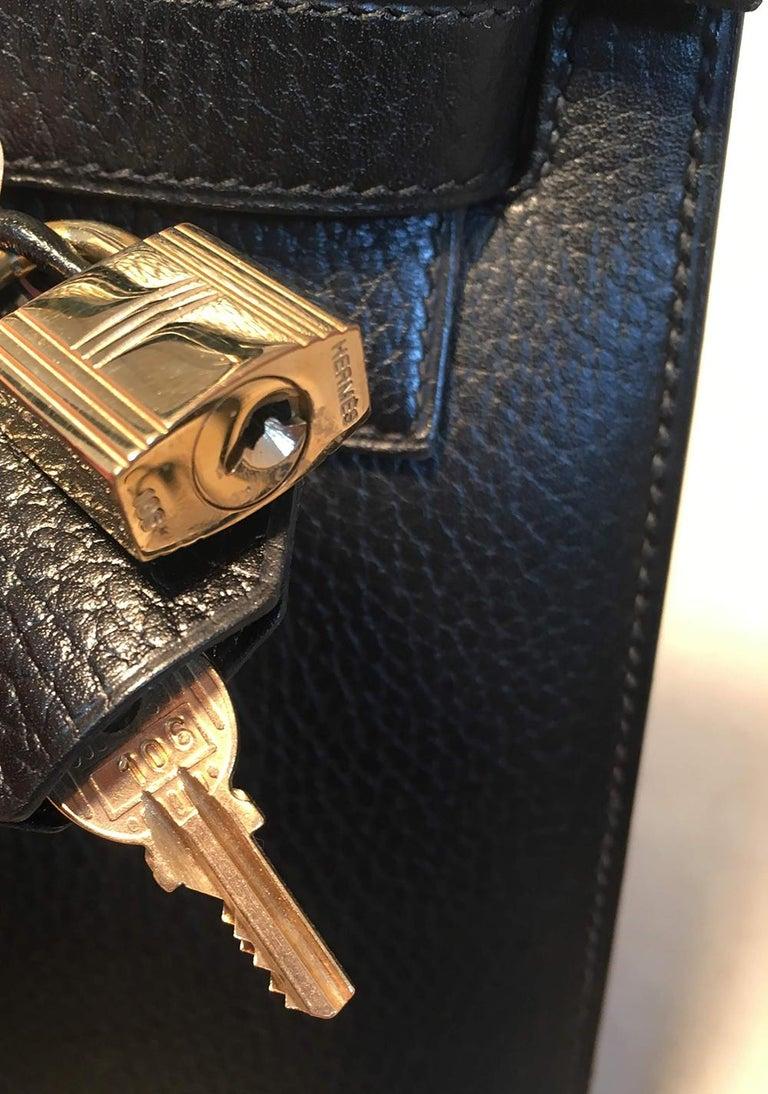 Hermes Vintage Black Noir Ardennes 32cm GHW Kelly Bag For Sale 6