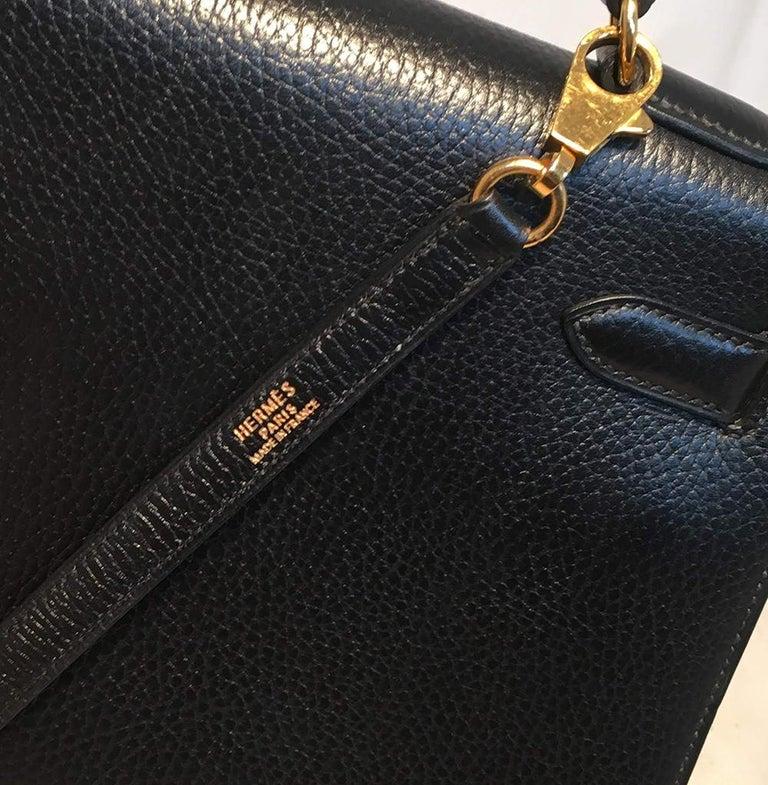 Hermes Vintage Black Noir Ardennes 32cm GHW Kelly Bag For Sale 7