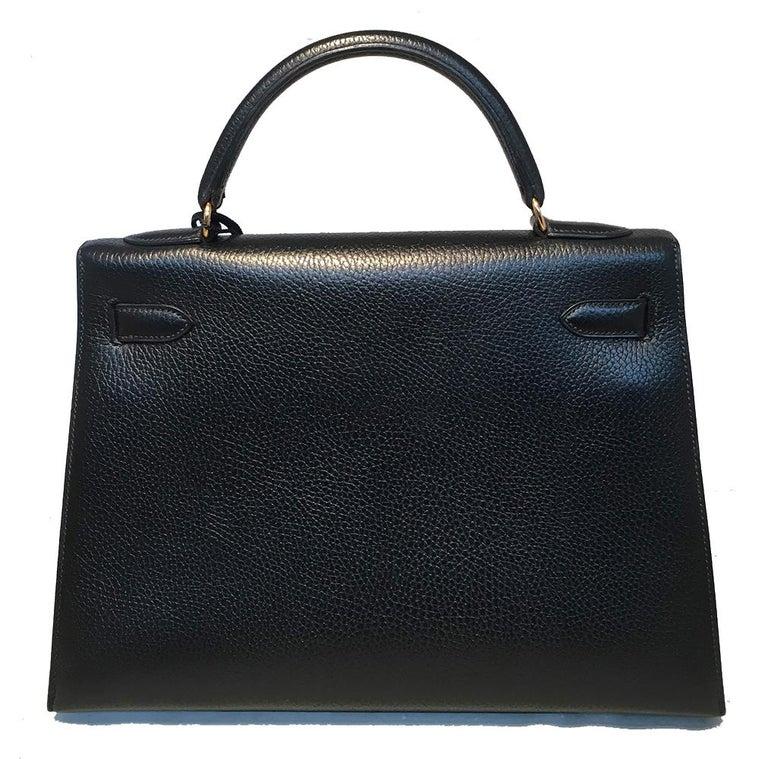 Women's Hermes Vintage Black Noir Ardennes 32cm GHW Kelly Bag For Sale
