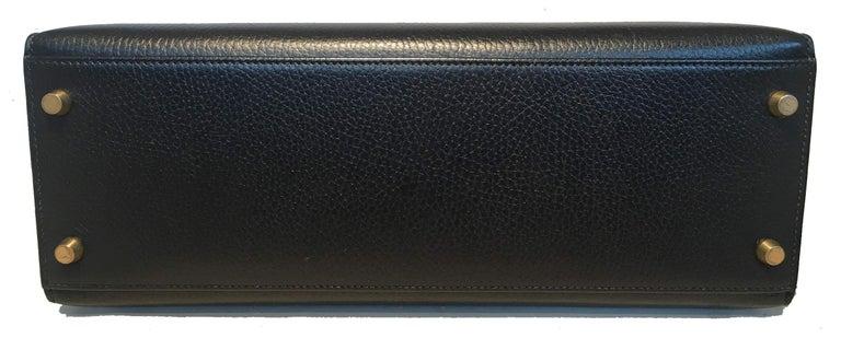 Hermes Vintage Black Noir Ardennes 32cm GHW Kelly Bag For Sale 1