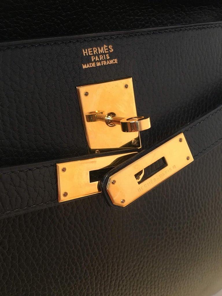 Hermes Vintage Black Noir Ardennes 32cm GHW Kelly Bag For Sale 2
