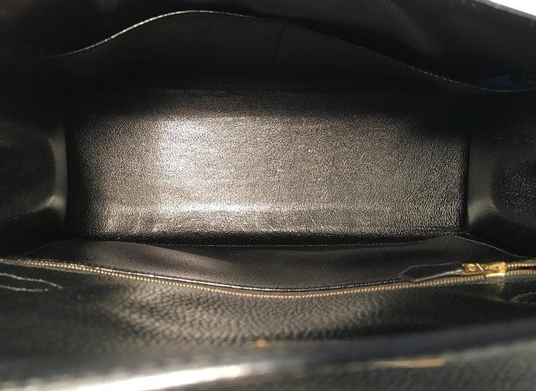 Hermes Vintage Black Noir Ardennes 32cm GHW Kelly Bag For Sale 4