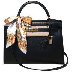 cbe1c508e70b Hermes Vintage Black Noir Ardennes 32cm GHW Kelly Bag