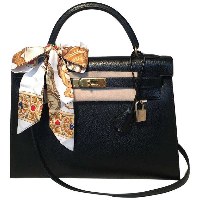 Hermes Vintage Black Noir Ardennes 32cm GHW Kelly Bag For Sale