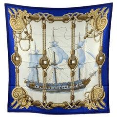 Hermes Vintage Blue Silk Scarf Nautical Tribord 1968 Julie Abadie