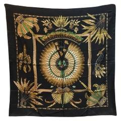 Hermes Vintage Brazil Silk Scarf in Black c1980s