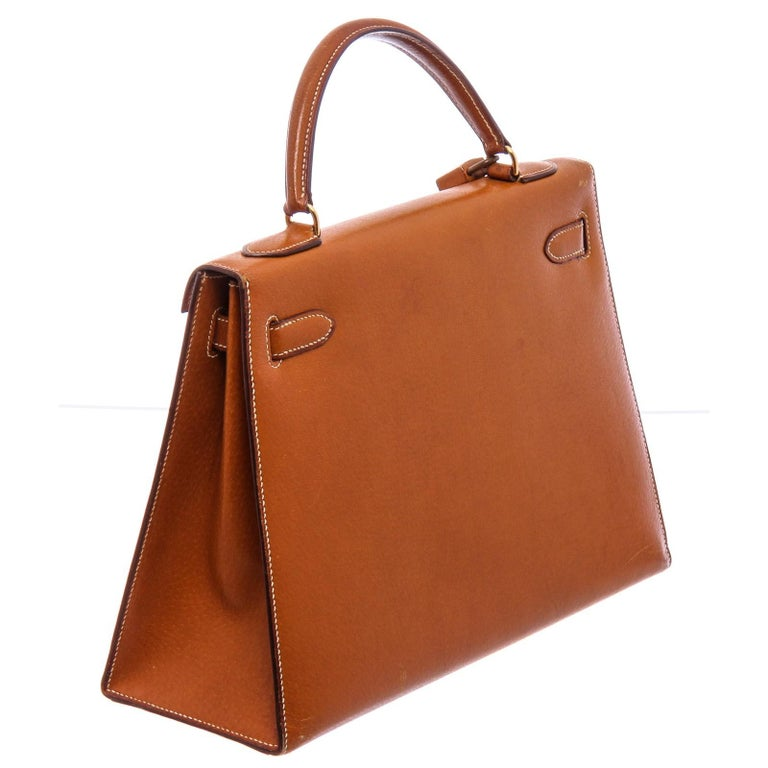 Hermes Vintage Brown Barenia Leather Kelly Sellier 32 Bag In Good Condition For Sale In Irvine, CA