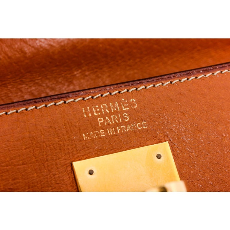 Hermes Vintage Brown Barenia Leather Kelly Sellier 32 Bag For Sale 2