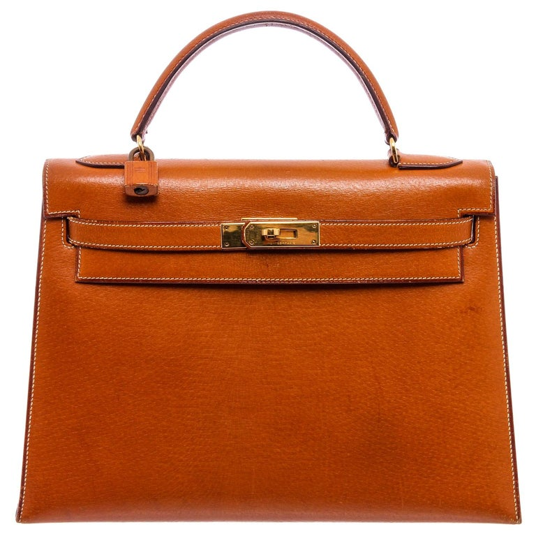 Hermes Vintage Brown Barenia Leather Kelly Sellier 32 Bag For Sale