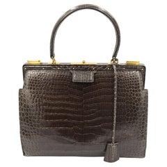Hermes Vintage Brown Crocodrile 404 Doctor Bag