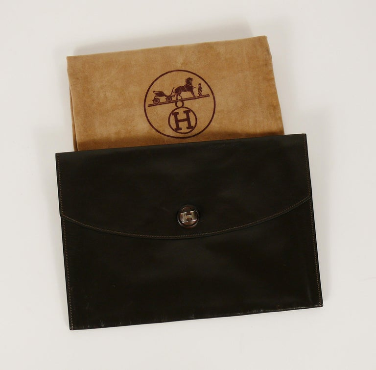 Black Hermes Vintage Brown Leather H Clasp Rio Clutch Bag For Sale