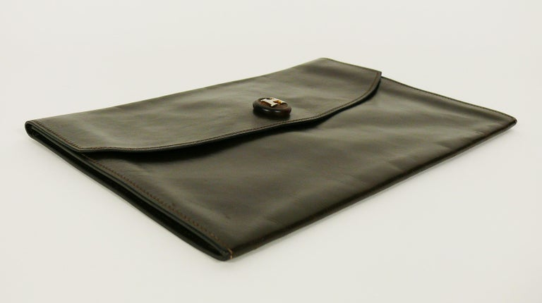 Hermes Vintage Brown Leather H Clasp Rio Clutch Bag For Sale 1