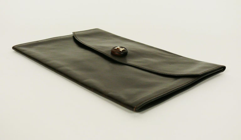Hermes Vintage Brown Leather H Clasp Rio Clutch Bag For Sale 2