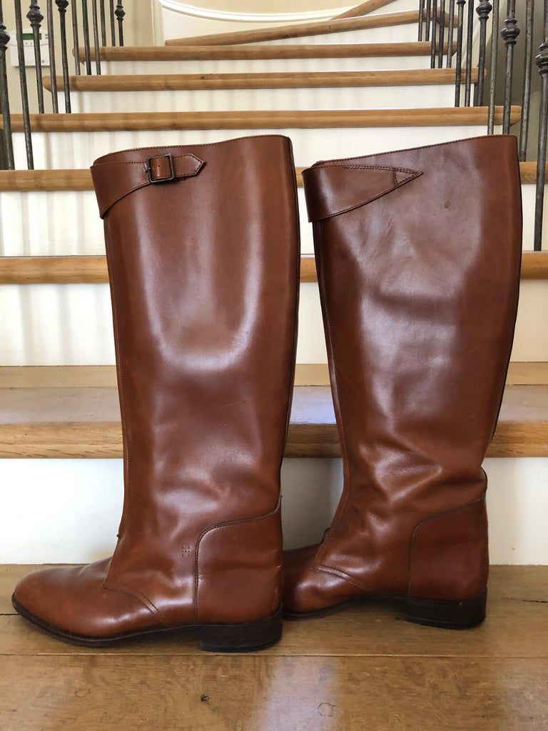 Hermes Vintage Brown Leather Zip Front Riding Boots Size 39  Bottom Sole measures 10.5 x 3.25 Boot height is 17