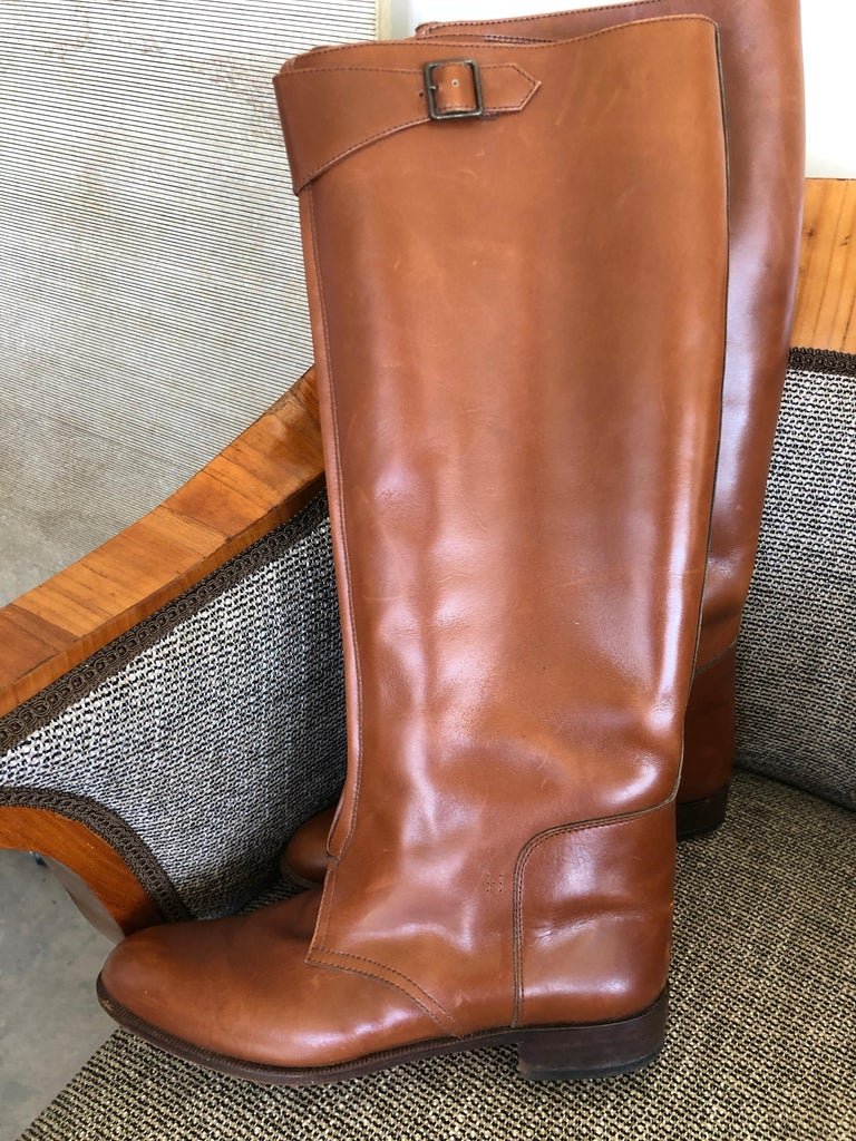 Women's Hermes Vintage Brown Leather Zip Front Riding Boots Size 39