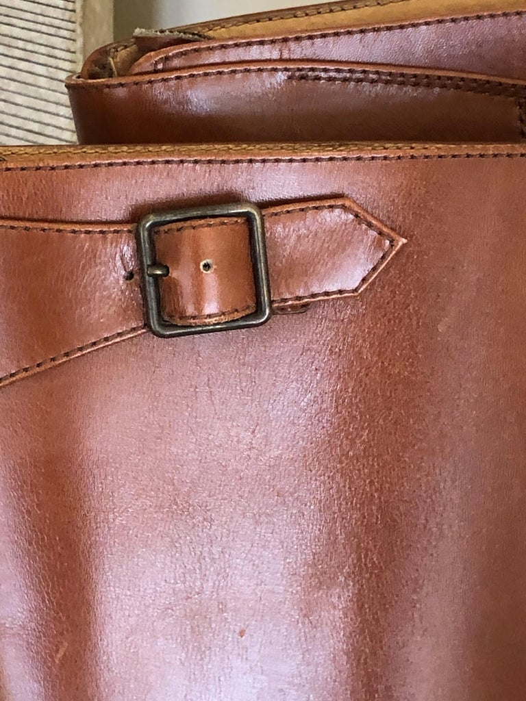 Hermes Vintage Brown Leather Zip Front Riding Boots Size 39  1