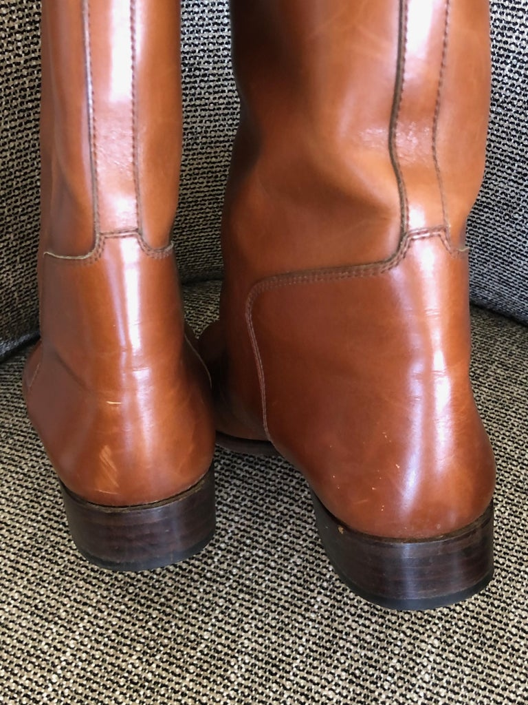 Hermes Vintage Brown Leather Zip Front Riding Boots Size 39  2