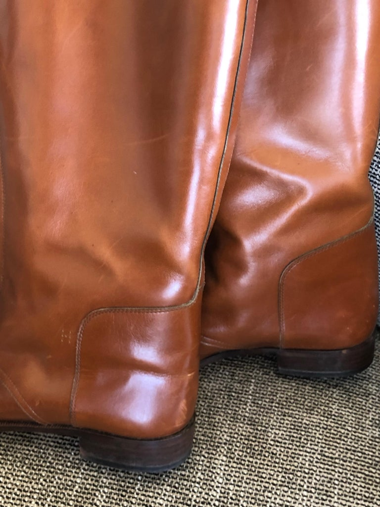 Hermes Vintage Brown Leather Zip Front Riding Boots Size 39  3