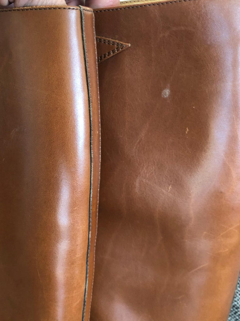 Hermes Vintage Brown Leather Zip Front Riding Boots Size 39  4