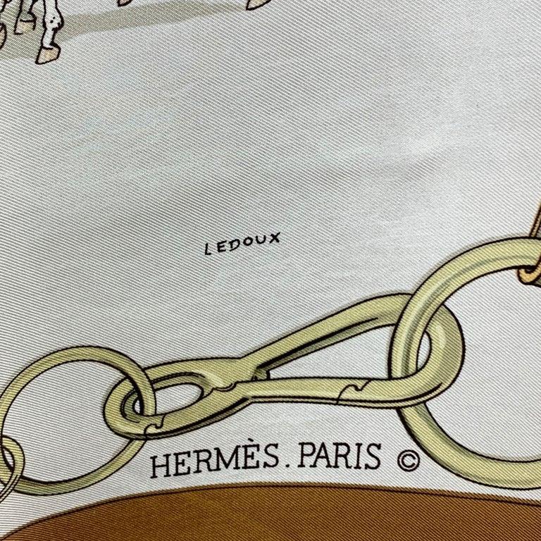 Beige Hermes Vintage Brown Silk Attelages a Quatre 1970 Philip Ledoux