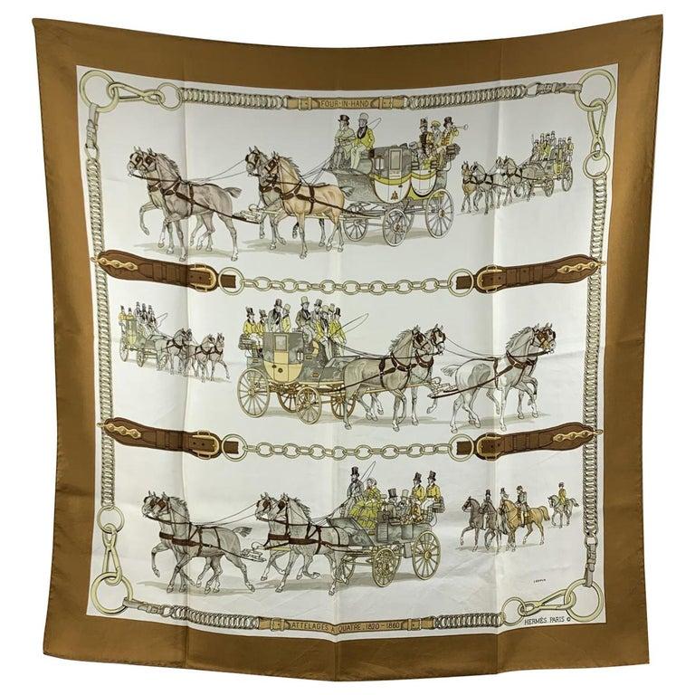 Hermes Vintage Brown Silk Attelages a Quatre 1970 Philip Ledoux