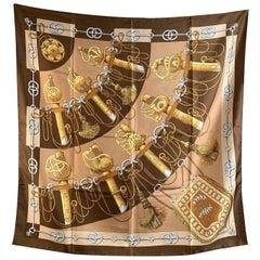 Hermes Vintage Brown Silk Scarf Cliquetis 1972 Juliae Abadie