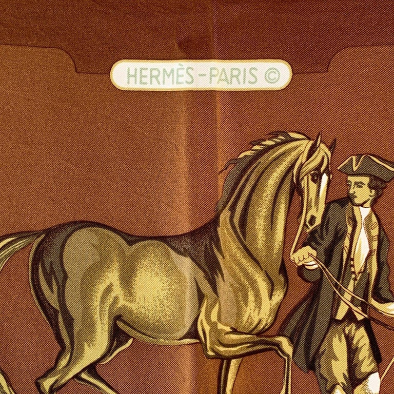 Women's Hermes Vintage Brown Silk Scarf Parc Royal 1974 Francoise Heron For Sale