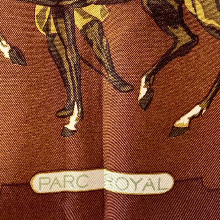 Hermes Vintage Brown Silk Scarf Parc Royal 1974 Francoise Heron For Sale 1