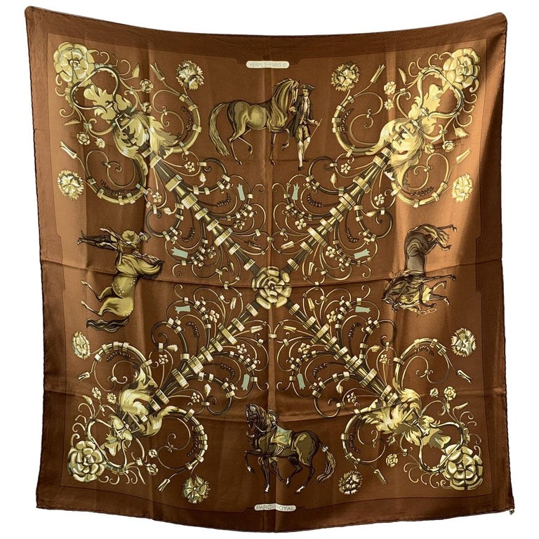 Hermes Vintage Brown Silk Scarf Parc Royal 1974 Francoise Heron For Sale