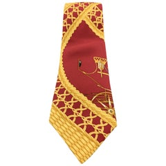 HERMES Vintage Burgundy & Gold Large Scale Ornate Print Silk Tie