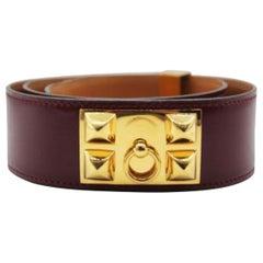Hermes Vintage Burgundy Leather Medor Belt with Gold Hardware