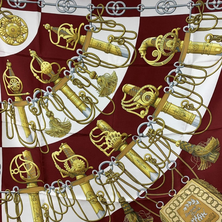 Hermes Vintage Burgundy Silk Scarf Cliquetis 1972 Julie Abadie In Excellent Condition For Sale In Rome, Rome