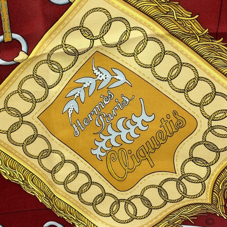 Women's Hermes Vintage Burgundy Silk Scarf Cliquetis 1972 Julie Abadie For Sale