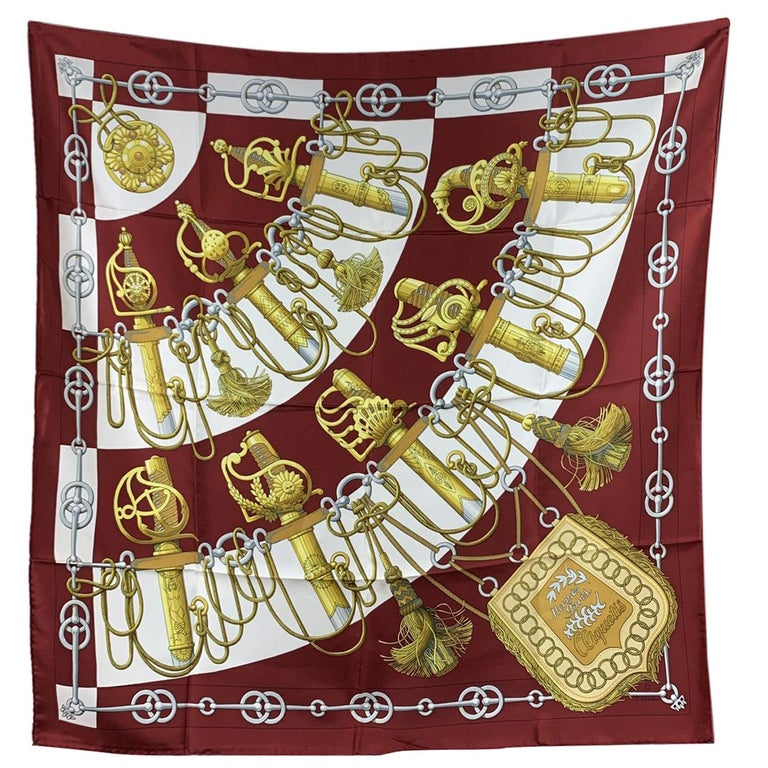 Hermes Vintage Burgundy Silk Scarf Cliquetis 1972 Julie Abadie For Sale