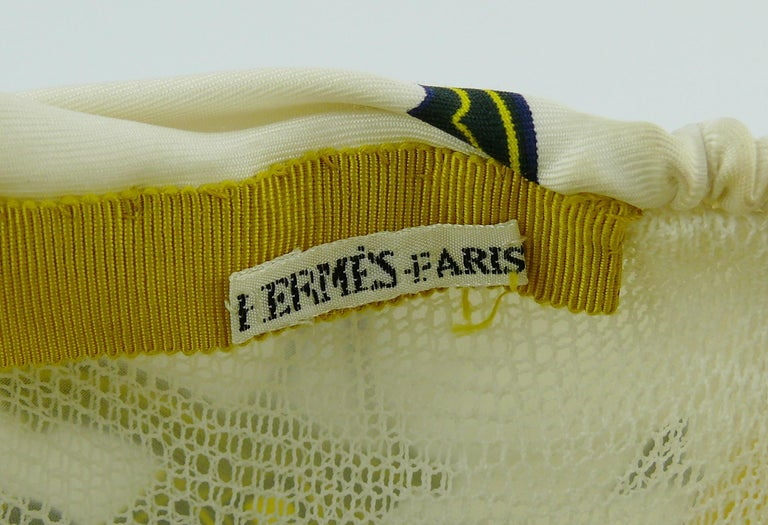 Hermes Vintage Carriages Silk Turban Hat  For Sale 7