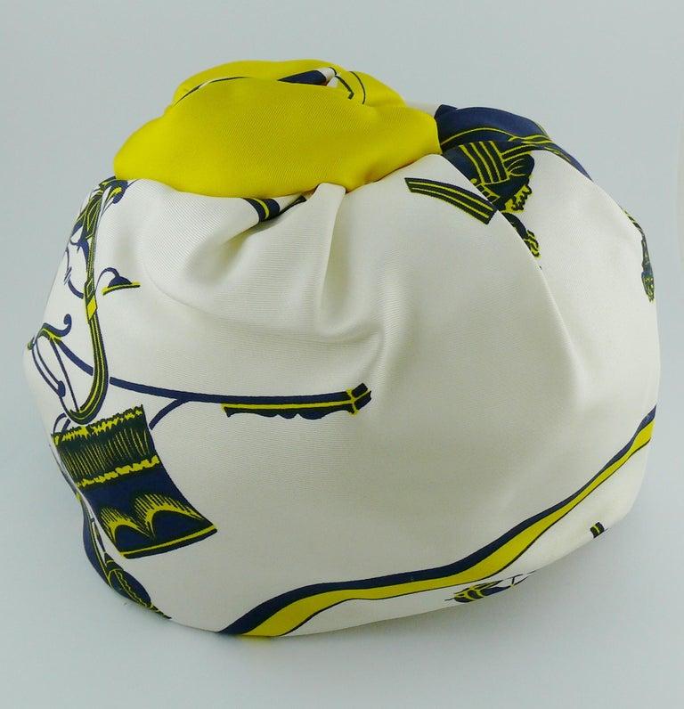 Beige Hermes Vintage Carriages Silk Turban Hat  For Sale