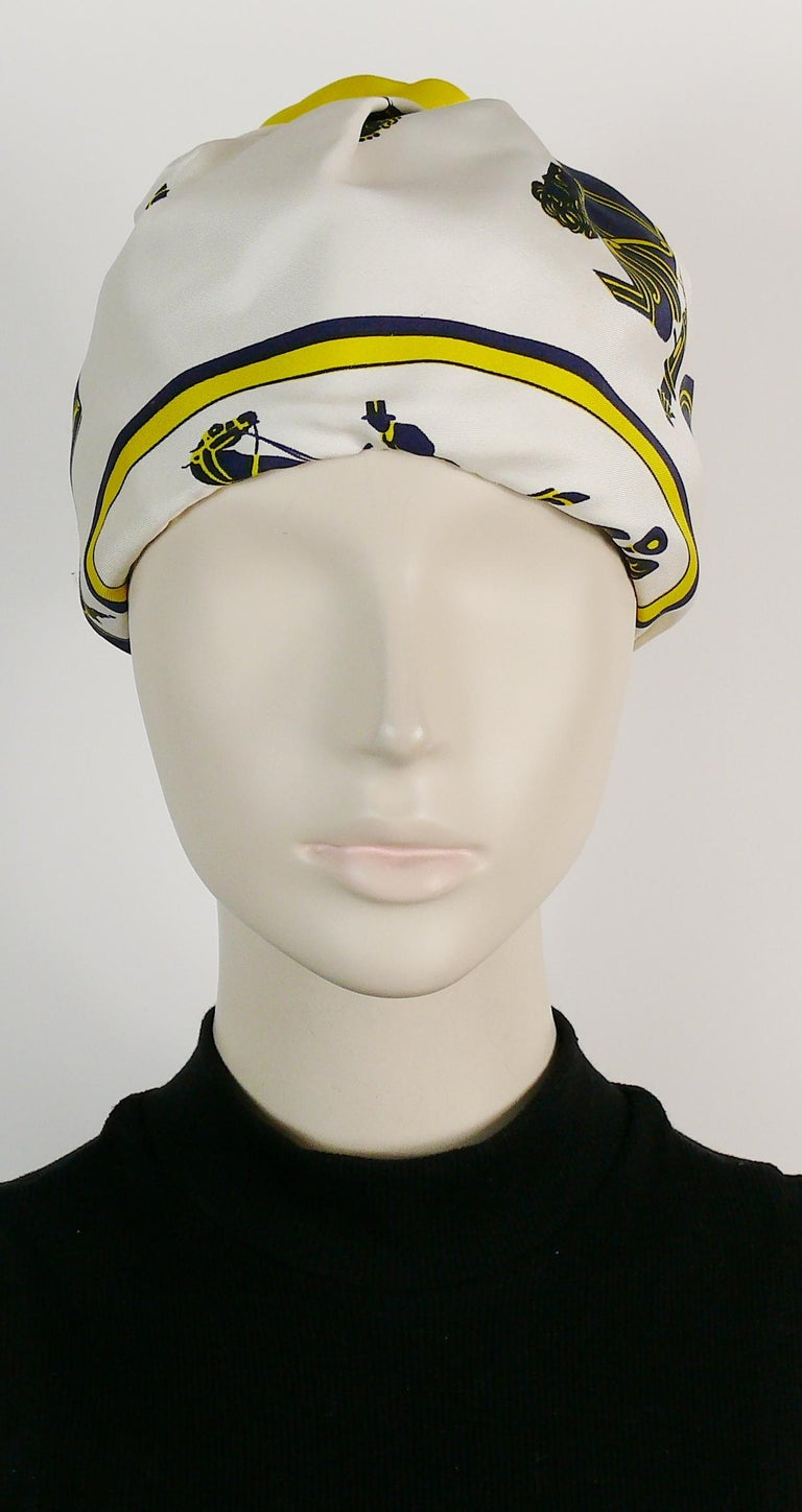 Women's Hermes Vintage Carriages Silk Turban Hat  For Sale